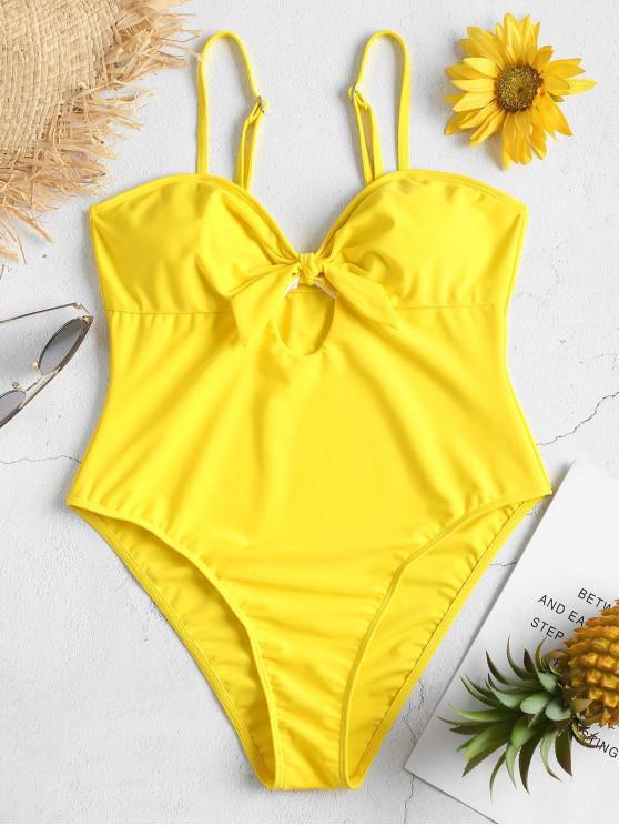 best High Leg Knot Cami Swimsuit - YELLOW S