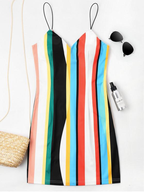 fashion Mini Striped Cami Dress - MULTI XL