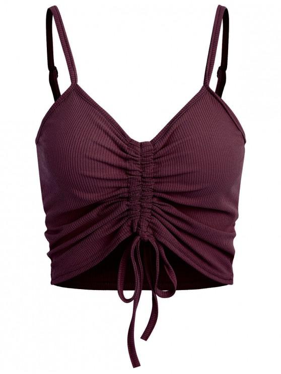 lady Drawstring Ruched Crop Cami Top - RED WINE L