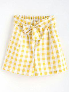 Gingham High Waisted Paper Bag Shorts - Yellow M