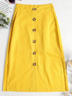 A Line Button Down Midi Skirt - Yellow L