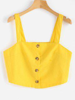 Button Up Apron Neck Crop Top - Sun Yellow M