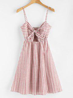 Smocked Knotted Stripes Dress - Chestnut Red M