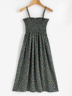 Tiny Floral Smocked Cami Dress - Beetle Green M