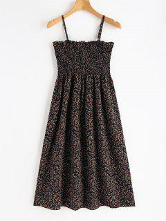 Smocked Floral Cami Dress - Dark Slate Blue S