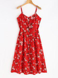 Smocked Button Up Floral Dress - Love Red L