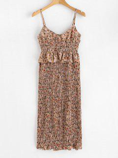 Floral Smocked Pleated Dress - Brown Bear M