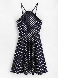Side Zipper Polka Dot A Line Dress - Dark Slate Blue L