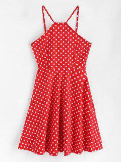 Side Zipper Polka Dot A Line Dress - Love Red M