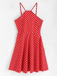 Side Zipper Polka Dot A Line Dress - Love Red L