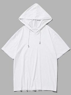 Drawstring Short Sleeve Hooded T-shirt - White M