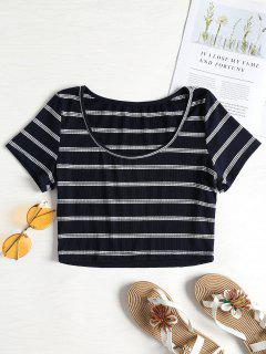 Ribbed Striped Cropped Scoop Tee - Deep Blue L