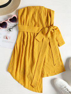 Tie Waist Skort Strapless Romper - Bright Yellow Xl