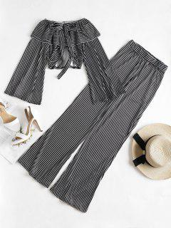 Bell Sleeve Crop Top Palazzo Pants Matching Set - Black M