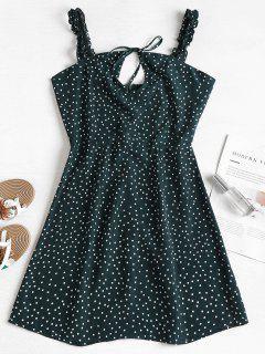 Frilled Strap Polka Dot Mini Skater Dress - Medium Sea Green M