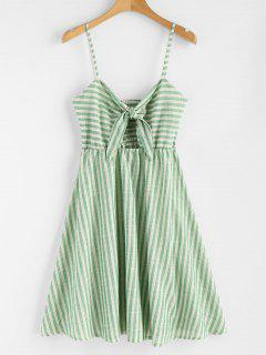 Smocked Knotted Stripes Dress - Clover Green M