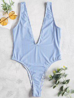 Striped Plunge High Cut Swimsuit - Denim Blue M