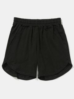 Solid Color Curved Hem Shorts - Black 32