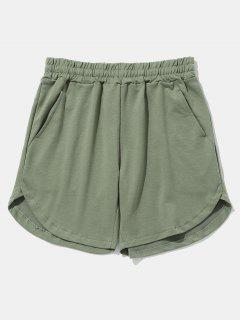 Solid Color Curved Hem Shorts - Blue Green 34