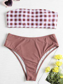 Checked Bandeau High Waisted Bikini Set - Rosy Finch L