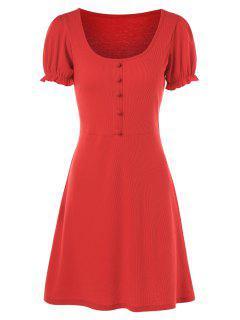 Vestido Ajustado Con Volantes Y Ajuste - Rojo Xl
