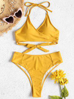 Ensemble De Bikini Enveloppé à Taille Haute - Jaune Soleil S