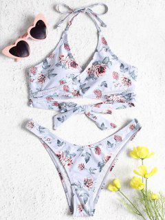 Rose Print Wrap Bikini Set - Lavender Blue S