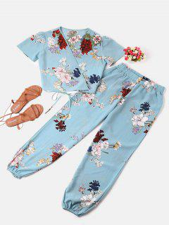 Conjunto De Pantalón Y Top De Abrigo Estampado - Cielo Azul M