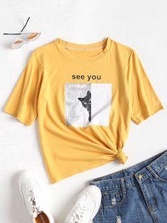 T-shirt Doux Avec Motif Graphique De Chat  - Jaune Clair L