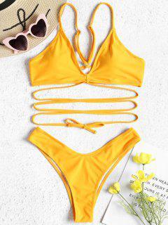 V-back High Leg Bikini Set - Mustard L