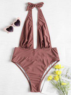 Low Back Halter Swimsuit - Rosy Finch S