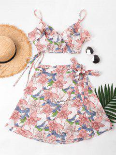 Floral Cami Top And Skirt Set - Light Pink S