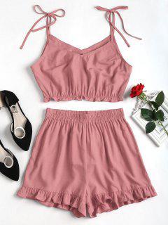 Ruffles Slip Shorts Set - Lipstick Pink M