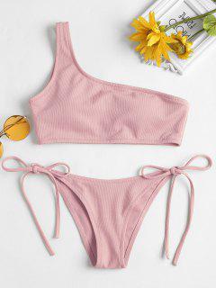 Riemchen Seitlicher Textured Eine Schulter Bikini - Rosa Rose L