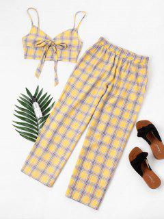 Tartan Knot Camisole And Pants Set - Yellow M