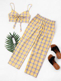 Tartan Knot Camisole And Pants Set - Yellow Xl