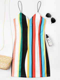 Mini Vestido Camisola A Rayas - Multicolor S