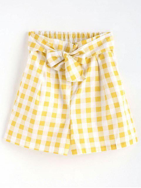 Short Taille Haute en  Sac de Papier et Imprimé Vichy - Jaune M Mobile