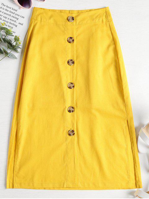 women's A Line Button Down Midi Skirt - YELLOW L Mobile