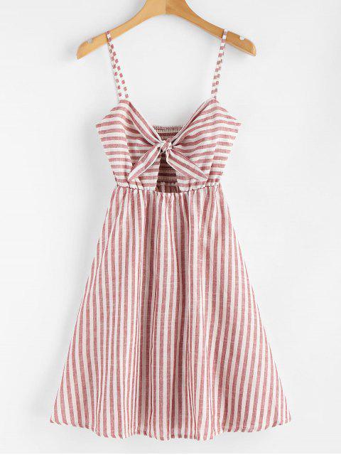 Mini-robe Froncée à Rayures et Nouée - Châtaigne Rouge M Mobile