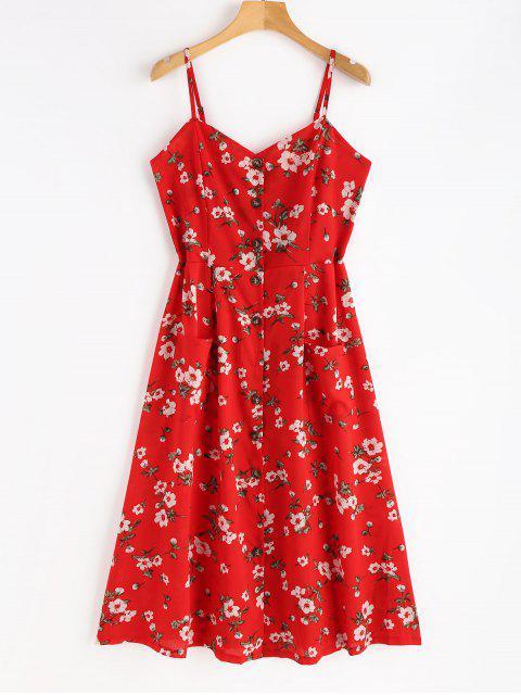 Robe Florale Froncée et Boutonnée - Rouge Amour L Mobile