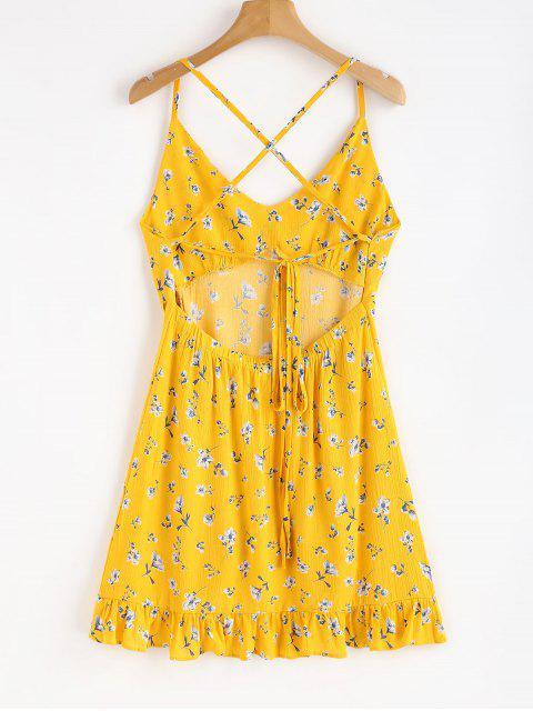 Vestido floral con volantes cruzados de Criss - Caucho Ducky Amarillo S Mobile