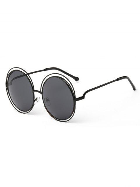 affordable Anti Fatigue Hollow Out Frame Round Sunglasses - NIGHT  Mobile