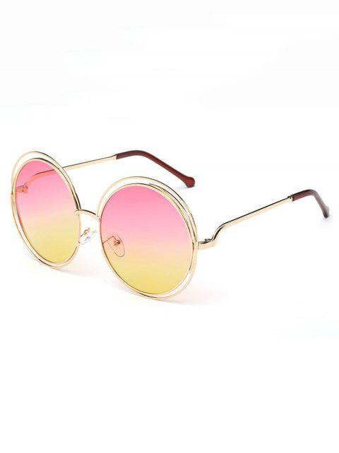 womens Anti Fatigue Hollow Out Frame Round Sunglasses - MACARONI AND CHEESE  Mobile