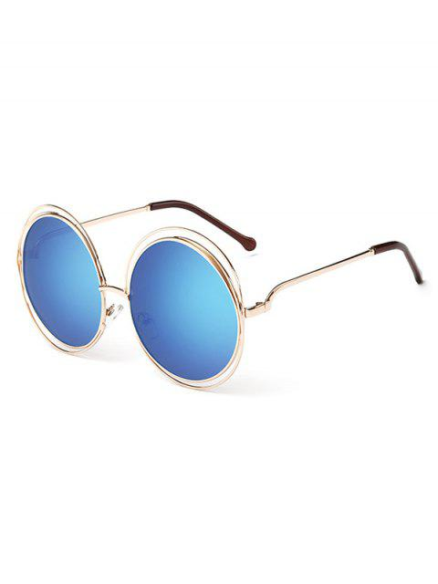 lady Anti Fatigue Hollow Out Frame Round Sunglasses - BLUE LOTUS  Mobile
