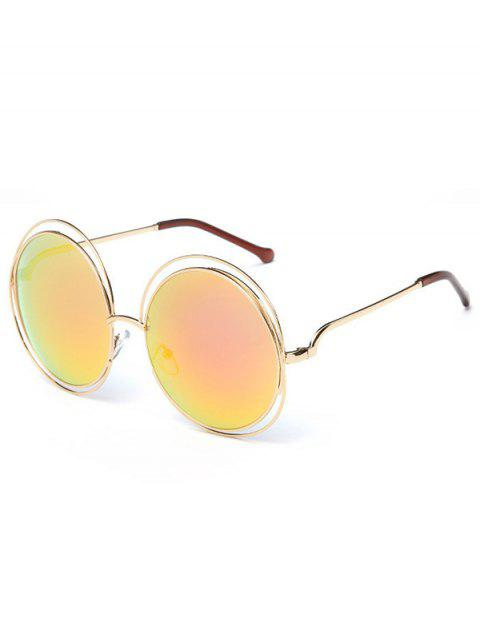 best Anti Fatigue Hollow Out Frame Round Sunglasses - ORANGE PINK  Mobile