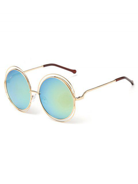 online Anti Fatigue Hollow Out Frame Round Sunglasses - MACAW BLUE GREEN  Mobile