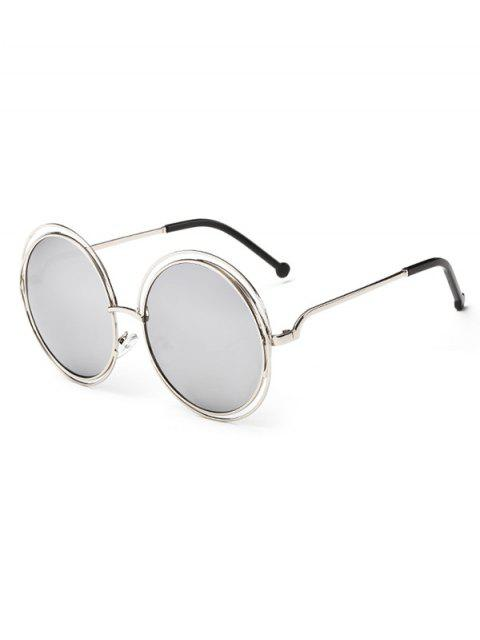 new Anti Fatigue Hollow Out Frame Round Sunglasses - SILVER  Mobile