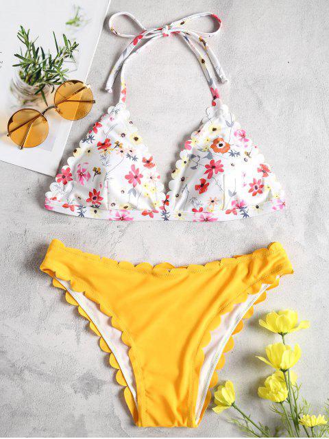 Bikini en Ensemble Festonné avec Haut à Motif Floral et Col Halter - Jaune Canard Caoutchouc S Mobile
