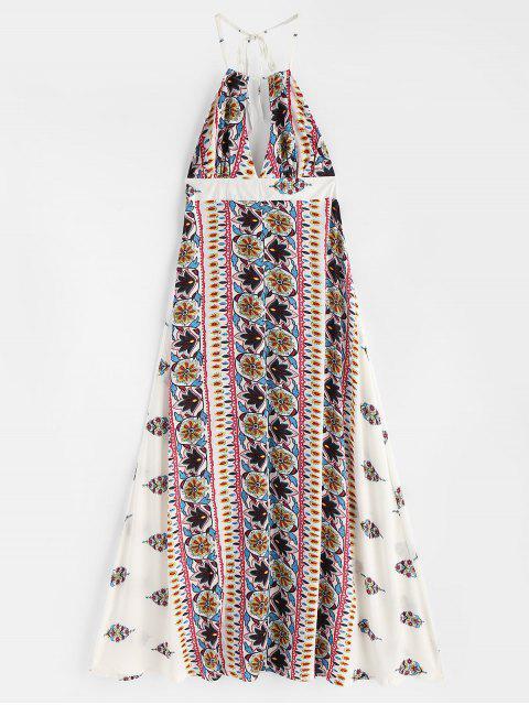 Robe Longue de Plage à Dos Nu et Col Halter - Blanc XL Mobile